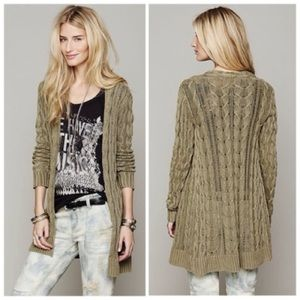 Free People Open Cable Knit Duster Cardigan